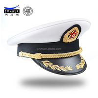 White fleece cotton real navy officer hat