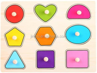Wooden cartoon shape numbers recognize jigsaw puzzle toys