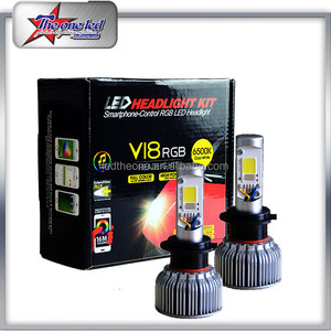 Hot Selling 36W V18 led headlight RGB Headlgit Smart phone APP Control Led H7 Headlight 6 Color Avaliable Super Bright