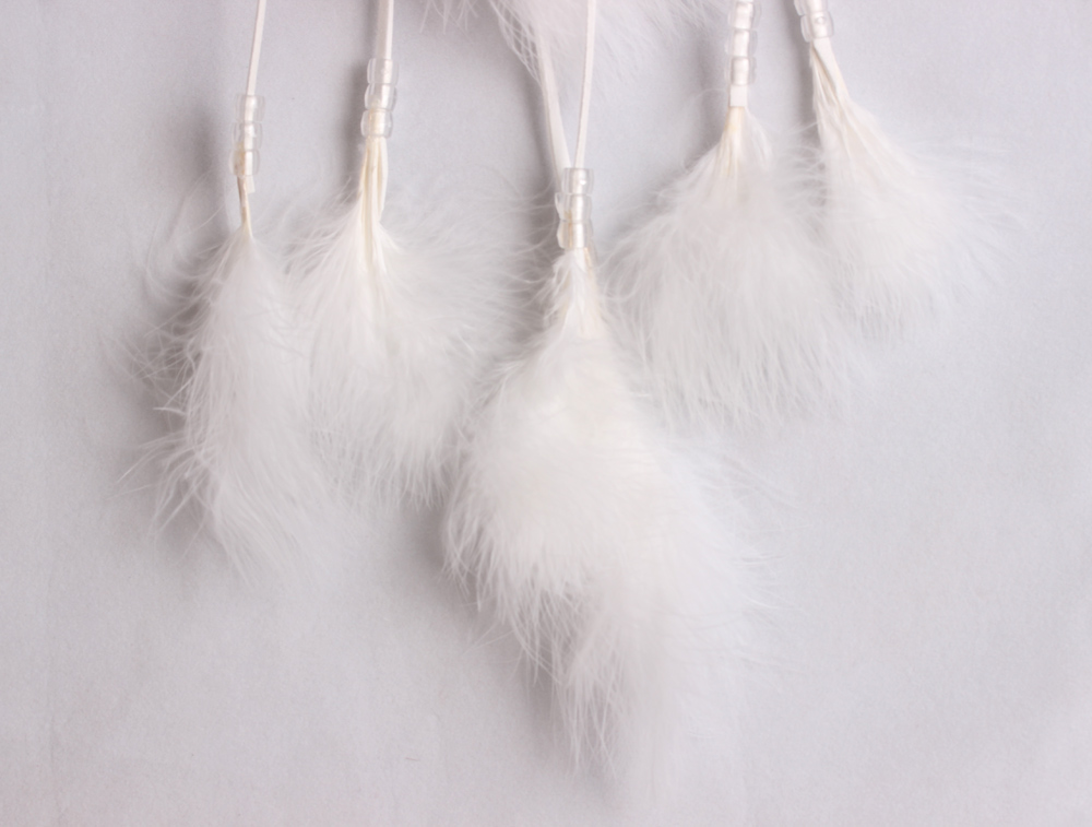Pure White marabou feather dream cathers MS1069