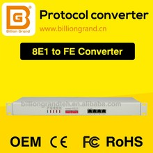 HOT SALE 8E1 to 4ETH protocol converter, G703 to ethernet converter, E1 to ETH converter