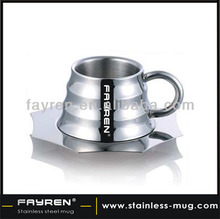 Double wall 304 stainless steel coffee cup and saucer coffee cup set