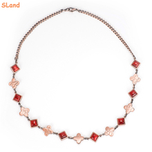 SLand Jewelry Manufacturer direct wholesale Red opal & lucky clover shape metal magnetic charm copper chain necklace