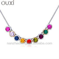 OUXI Fashion colorful rhinestone statement personalized chain necklace