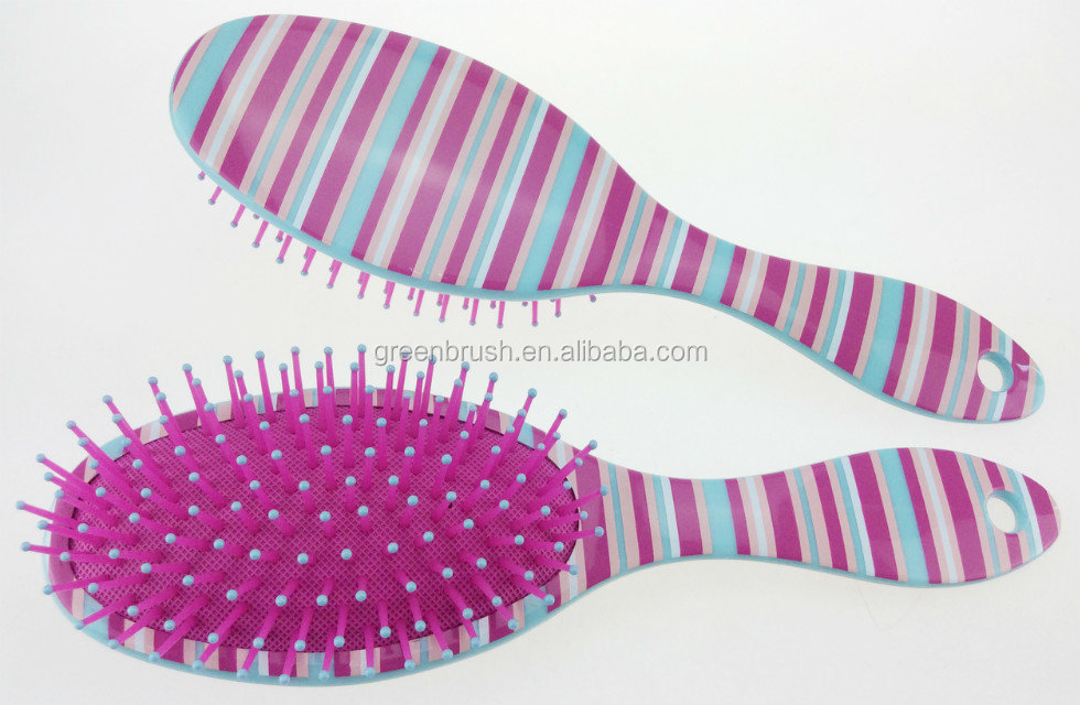 oval hair brush with zebra patten printing