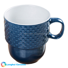 600cc attractive embossed dots large stacking ceramic cup mug
