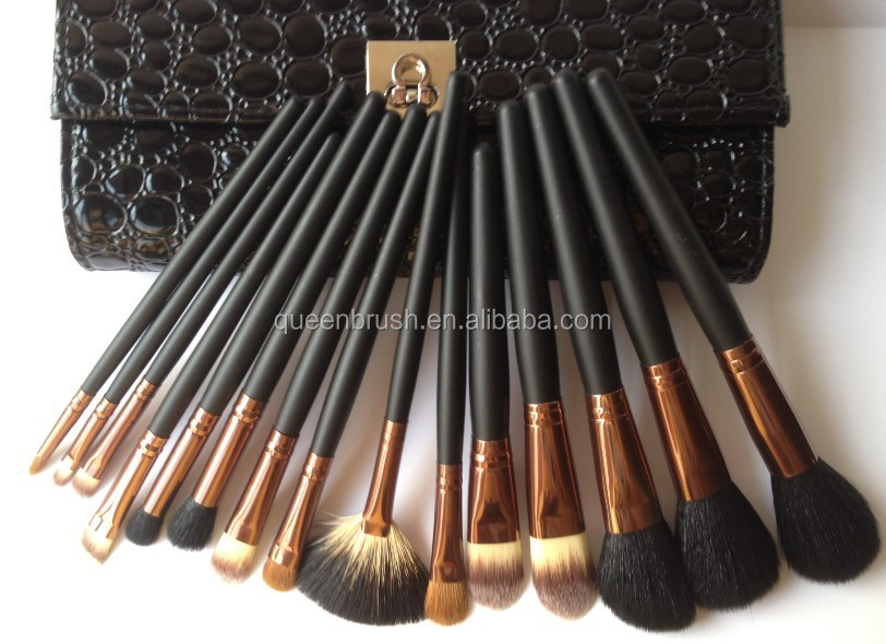 15 pcs private label best quality natural hair professional make up brushes