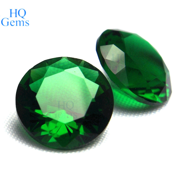Wholesale Round Cut Green Crystal Faceted Glass Gems View