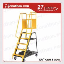 Warehouse durable step steel moving ladder with four-wheels