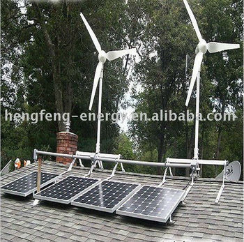 off grid home 1000w wind turbine +300w solar panels hybrid power system