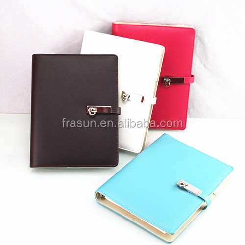 Attractive Multi Color Metal Button Eco Woodfree Paper A4 Notebook