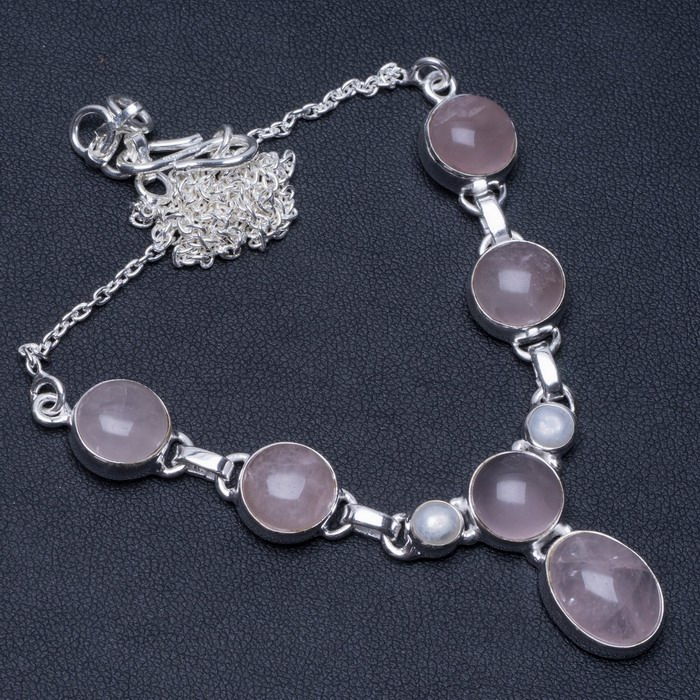 Natural Rose Quartz and River Pearl Unique Design 925 Sterling Silver Necklace 18 <strong>1</strong>/2""