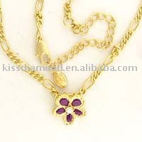 Plated gold flower necklaces
