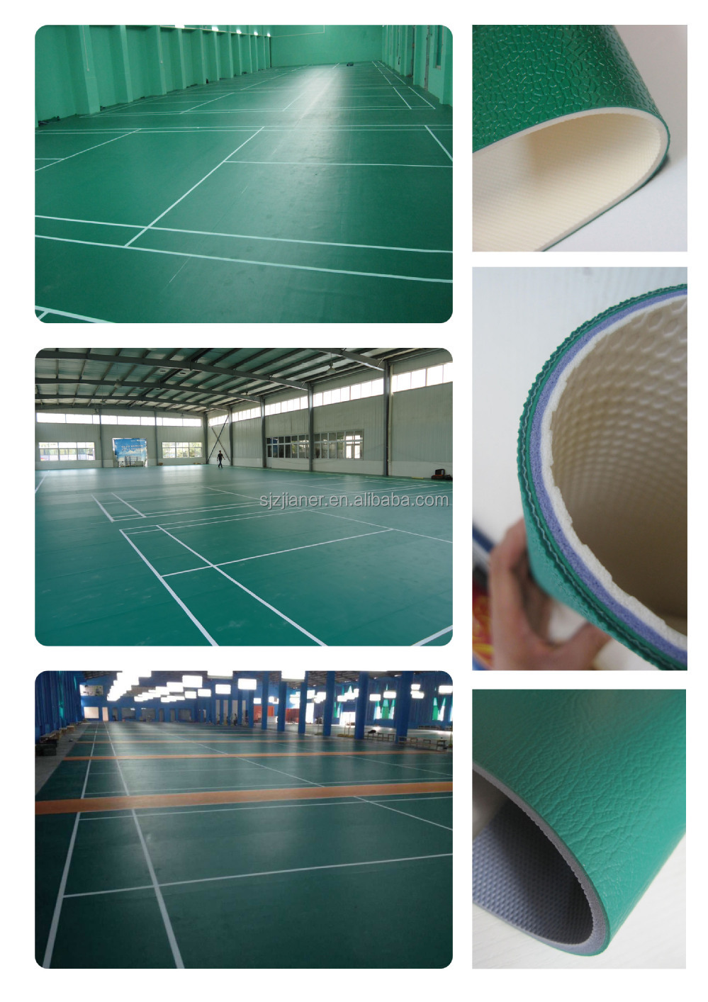 2017 hot selling pure pvc vinyl synthetic badminton court flooring