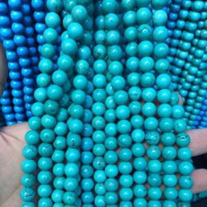 Polished 8mm Loose Natural Blue Turquoise Gemstone Stone Beads Strand With Factory Price