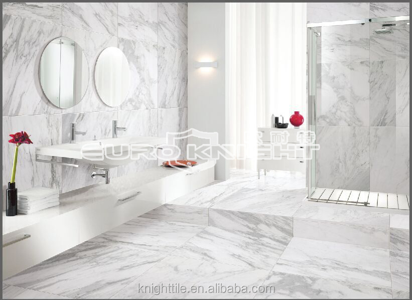 Hot sale Bathroom wall and floor polished marble look white porcelain tile