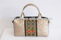 Selected material exotic real leather patchwork handbag purse