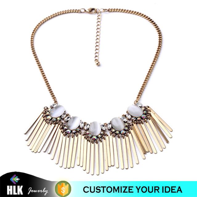 Dangle Flat Rectangle Sticks Custome Boho Gold Chain Fashion Necklaces for Women 2016