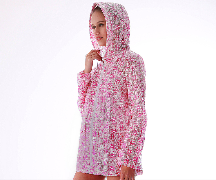 High Quality Flower Printing Composite Material Ladies Raincoat With Hooded