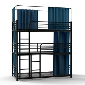 Hostel school dormitory factory wrought iron heavy duty double metal frame bunk beds with locker adult bunk bed designer beds