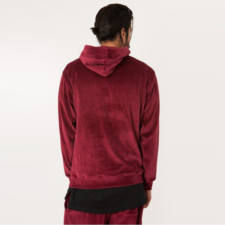 super soft solid red color wholesale blank velour hoodie men