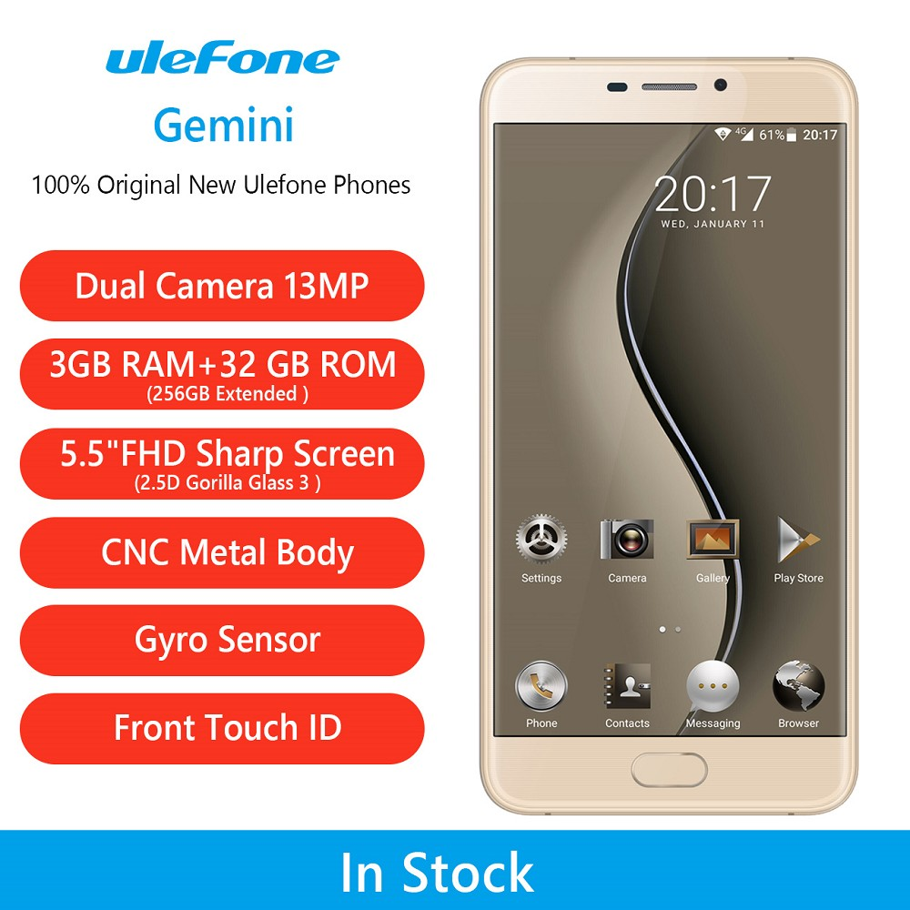 Best Selling Products in Russia Akilli Telefon Ulefone Gemini Metal Body Fingerprint Smartphone Mobile Phone