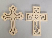 new design unfinished wooden decoration Easter cross wood crafts