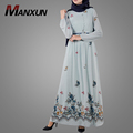 Beauty Combination Color Floral Maxi Muslim Dress OEM Service Abaya Long Sleeve Dubai New Design Muslim Clothing