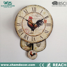 Personalized Home Decor Old Antique Pendulum Wall Clocks,MDF wall clock with Swing
