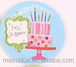 Light blue color paper plate with birthday cake