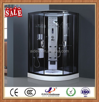 2015 hot sale fitting glass enjoyable whirlpool pump ABS tray complete fine massage shower room