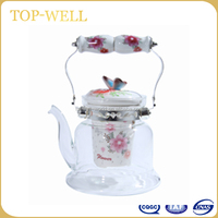 Butterfly porcelain lid fire resistant glass teapot ,glass kettle for gas stove made in china