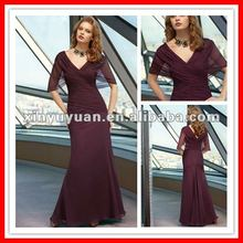 2012 Beautiful Sexy Short Sleeves Mermaid V-neck V-back Chiffon Rust Red Evening Dress Night Gown MLA-621