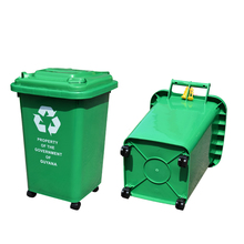 Stocked eco green outdoors street plastic 50L trash bins dustcontainers with wheels