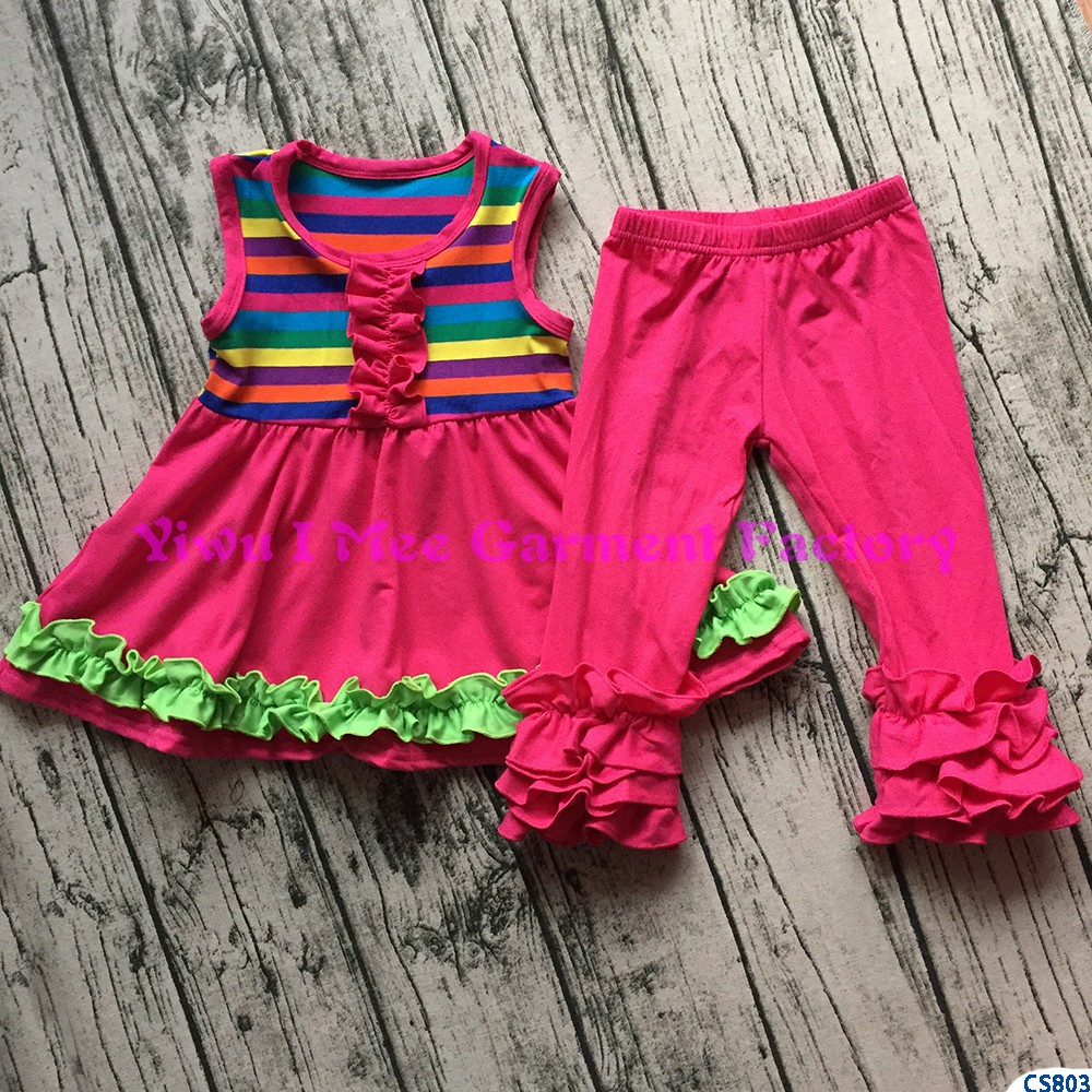 Spring Children's Boutique Clothing Sets Baby Girls Rainbow Stripe Tunic and Ruffled Icing Legging Outfits CS803