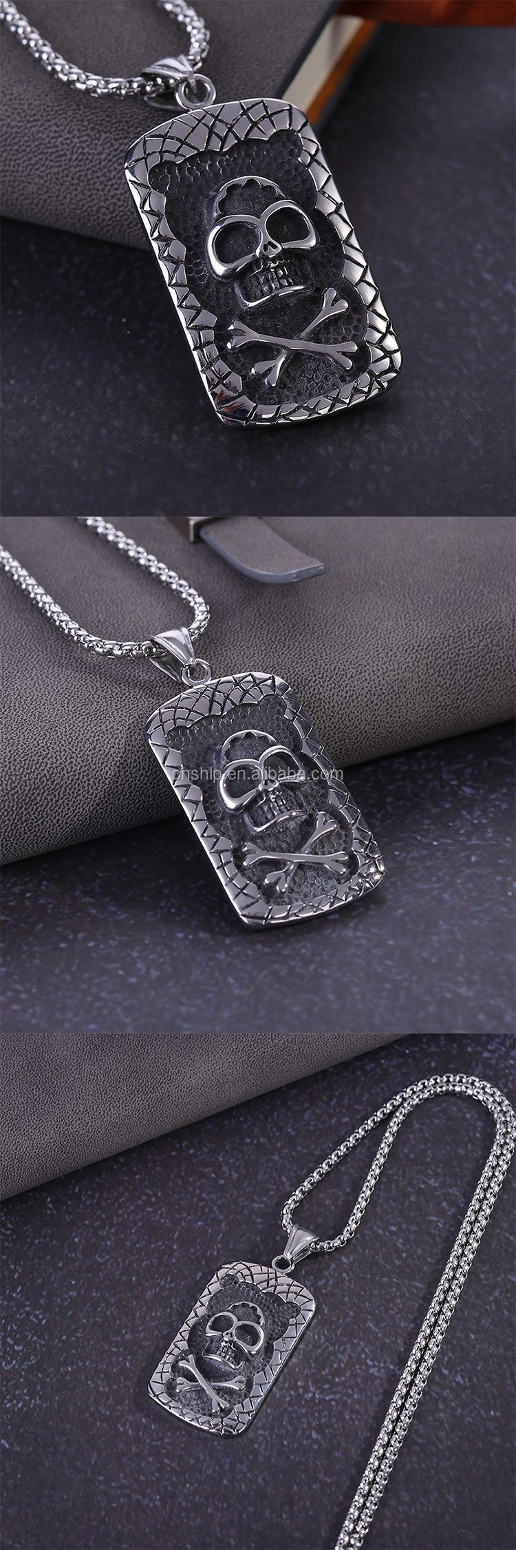 Custom metal 3d engraved logo dog tag with necklace