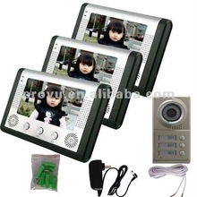 "7"" Full Color Video Door Phone Kit with 3 Monitors and 1 IR Camera fit for 3 families PY-V801MC13"