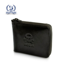 black zipper skull leather wallet for men with credit card slots