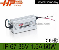 small size CE RoHS constant voltage single output waterproof IP67 switching mode 60w 1.5a 36v ac dc power supply led driver