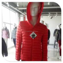 OEM factory white down hooded ladies clothing