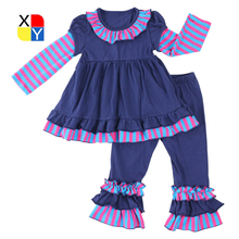 Wholesale embroidering ruffle pants western toddler girl ruffle outfits
