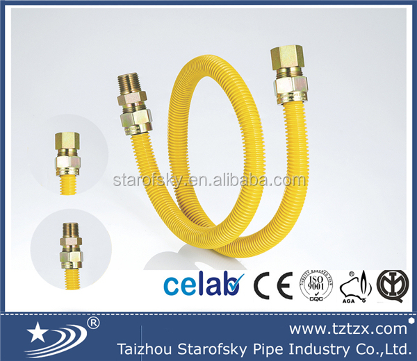 CSA corrugated pipe stainless steel flexible gas hose with fitting