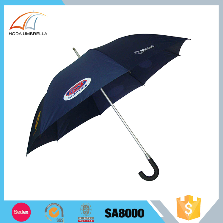 Super light aluminium auto open straight rain umbrella with printing logo