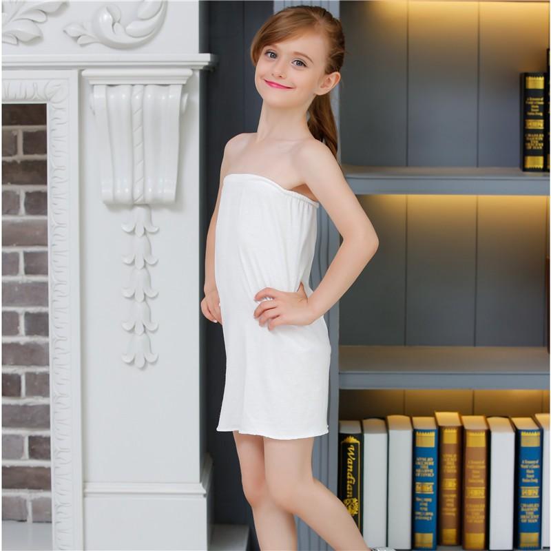Free Shipping White Kids Girls Long Tube Top Modal Underwear Dress Underskirt - Buy White Kids