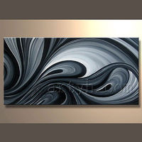 Newest Style Modern Abstract Oil Painting Black White For Home Decor