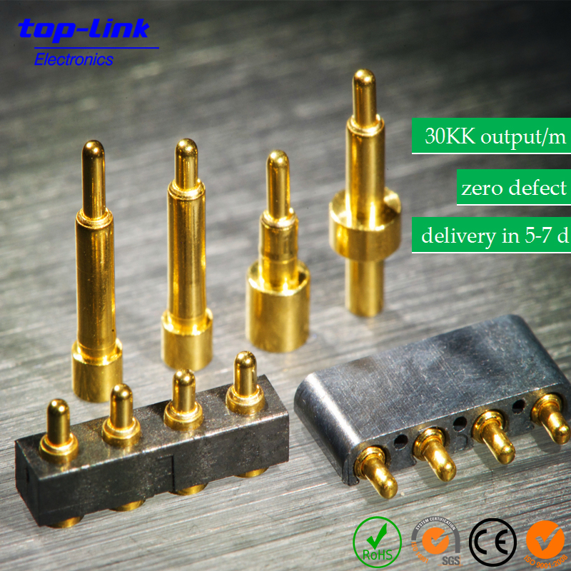 Precision Machined 100% Inspected Brass Pogo Pin, Low-Resistance Spring-loaded Pin, Magnetic Connector for Wearable Devices