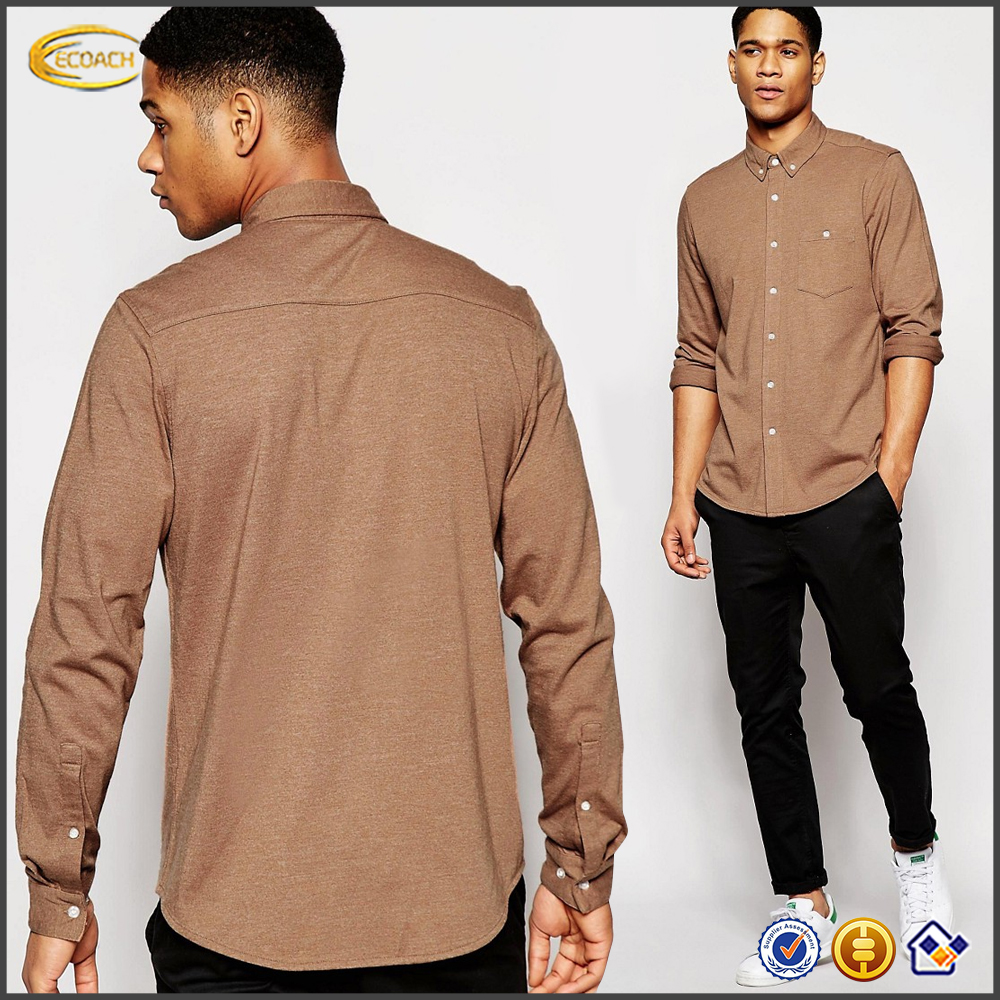 Ecoach high quality latest casual shirt design button down collar 60%cotton 40%polyester long sleeve men casual shirt