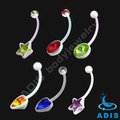 bioflex belly ring piercing cz stone jeweled body jewelry
