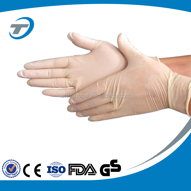 Non sterile disposable latex examination gloves
