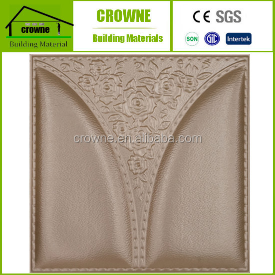 3d leather decorative wall panel/decoration material paper backed vinyl luxry style design